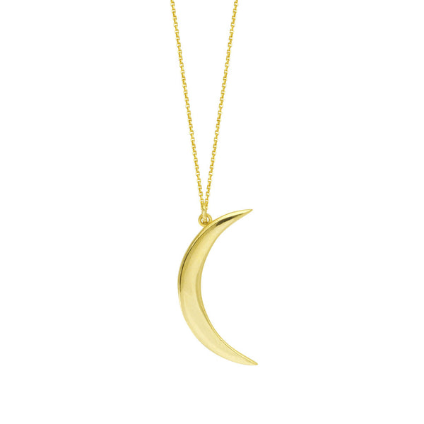 Yellow Gold Crescent Moon Necklace