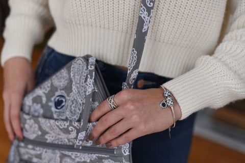 Penn State Grey and White Front Zip Wristlet