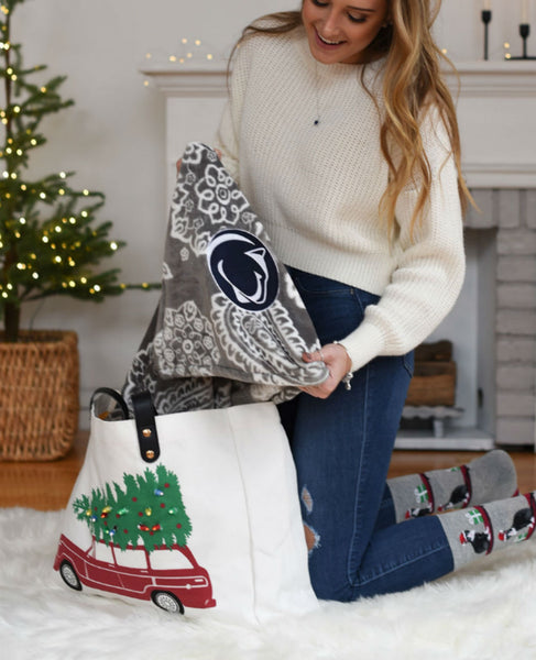 Penn State Grey and White Plush XL Throw Blanket