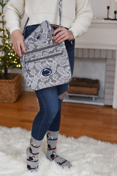 Iconic Triple Zip Hipster in Grey and White Penn State