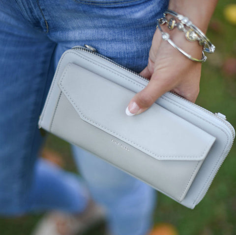 Frances Zip Around Wallet in Grey