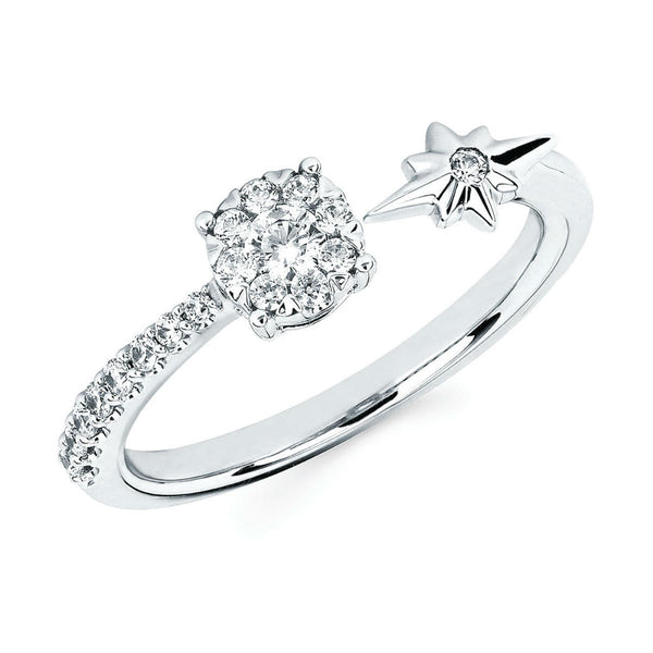 Diamond Star and Cluster Fashion Ring