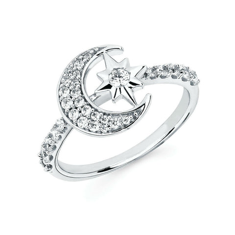 Moon and Star Diamond Fashion Ring
