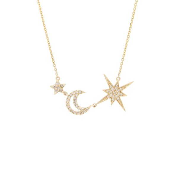 Moon with 2 Star Diamond Necklace