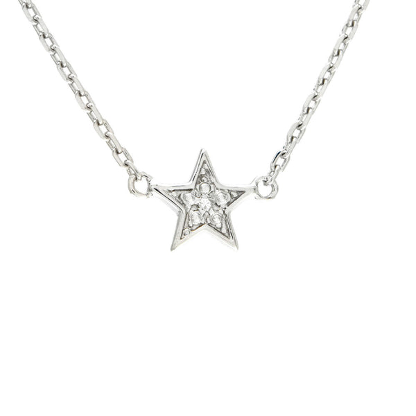 Sterling Silver Diamond Star Necklace
