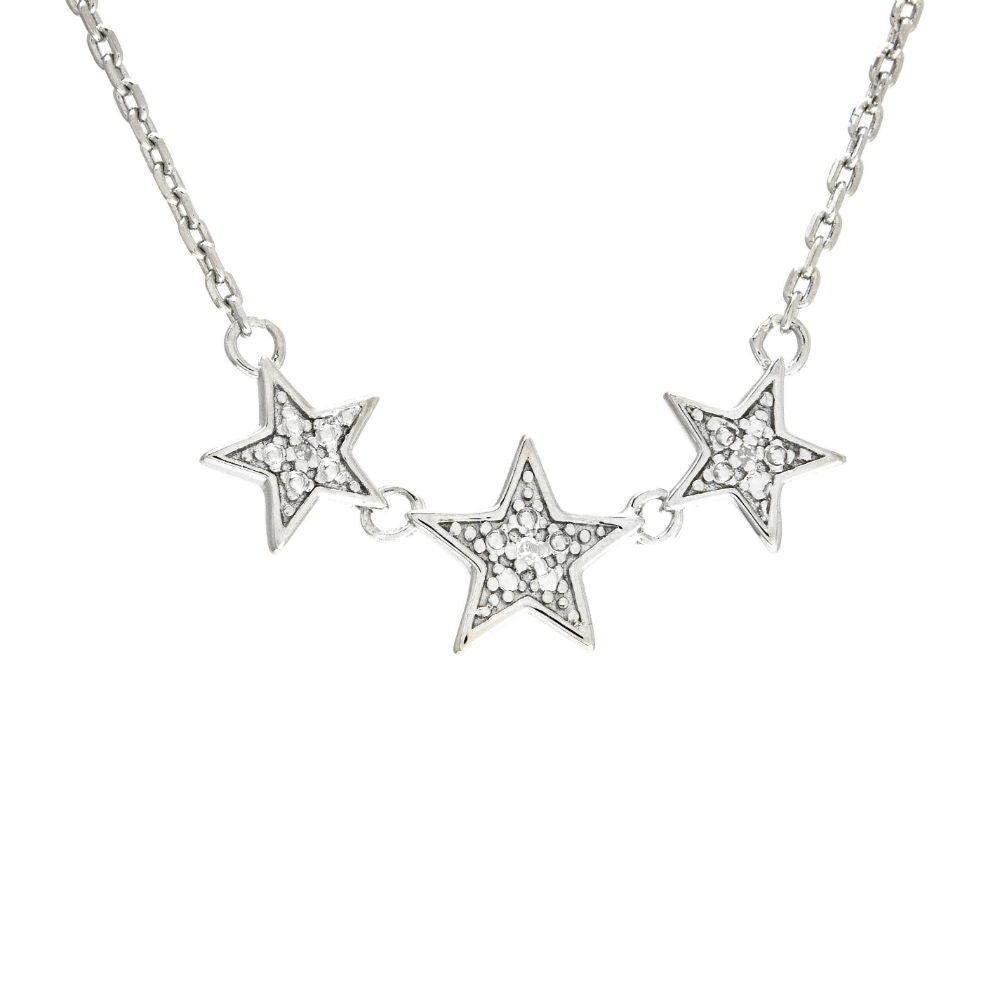 Diamond 3-Star Sterling Silver Necklace