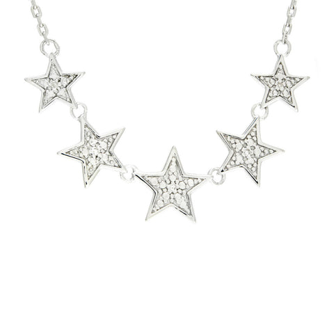 Sterling Silver 5 Star Diamond Necklace