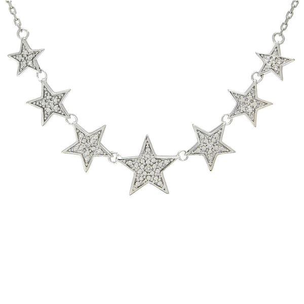 Sterling Silver 7 Star Diamond Necklace