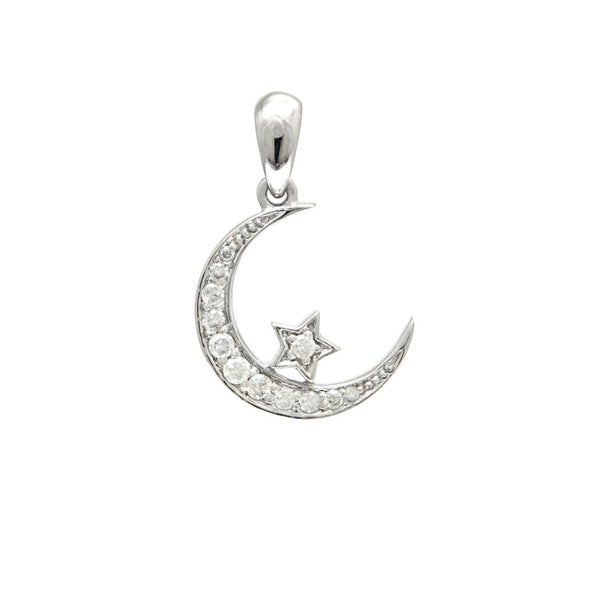 Moon and Star Diamond Pendant Necklace
