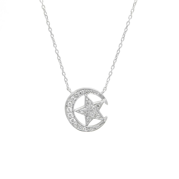 """Star and Moon"" Diamond Necklace"