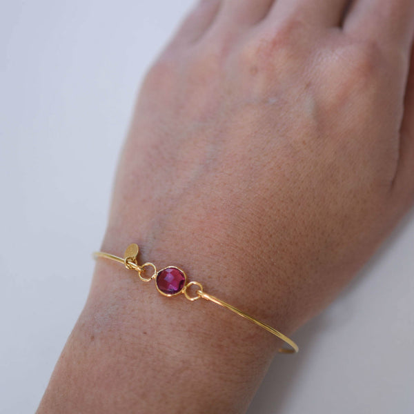 Pink Tourmaline October Birthstone Bangle