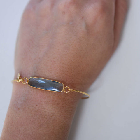 London Blue Gemstone Bar Bracelet