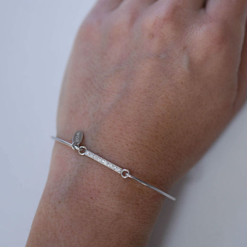 Sterling Silver Sparkle Bar Bangle