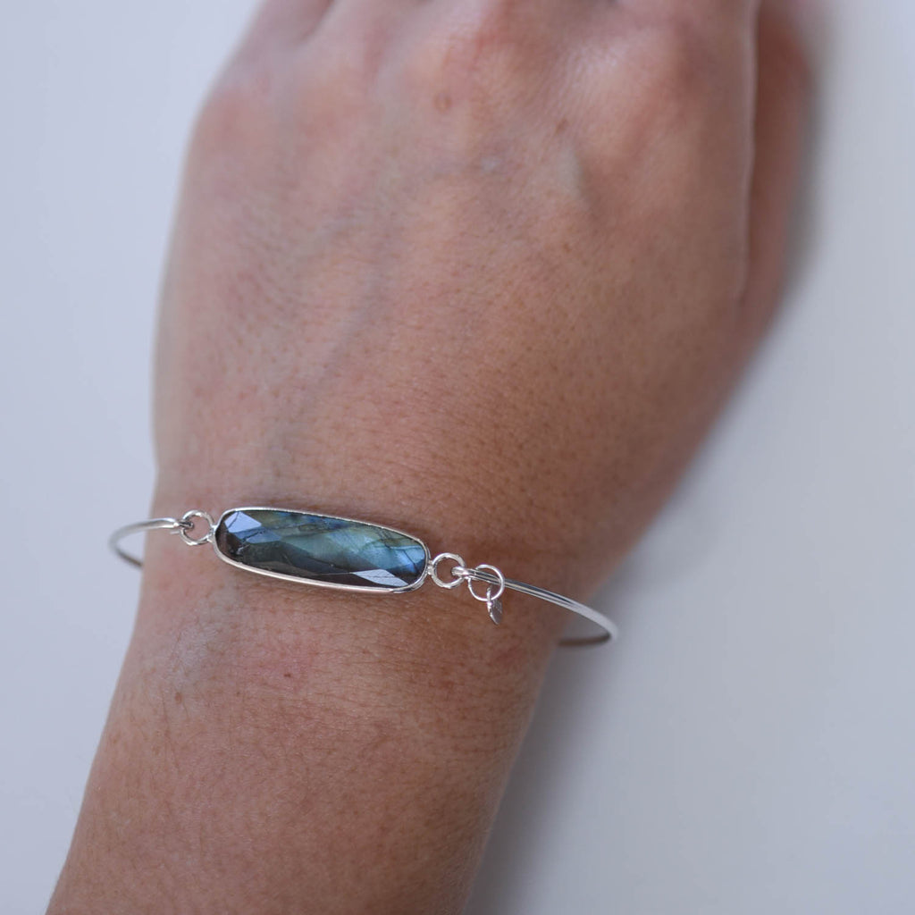 Labradorite Sterling Bar Bangle