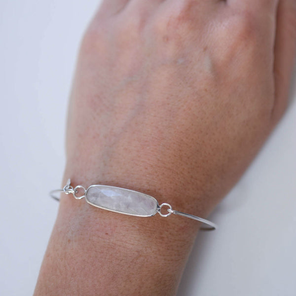 Smokey Grey Sterling  Bar Bangle