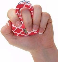 Red and White fashion pattern Stun Gun Ring with base you hold in your fist to grip thumbnail