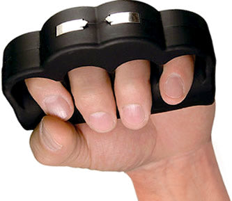 Black self defense stun gun and knuckles pointing up