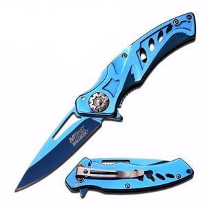 blue blade blue handle pocket knife with blue clip showing blade extended and retracted thumbnail