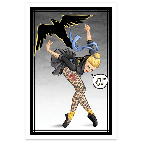 "Tattooed ""Black Canary"" Inspired Ballerina - LTD 12x18 Print [Metallic Linen]"