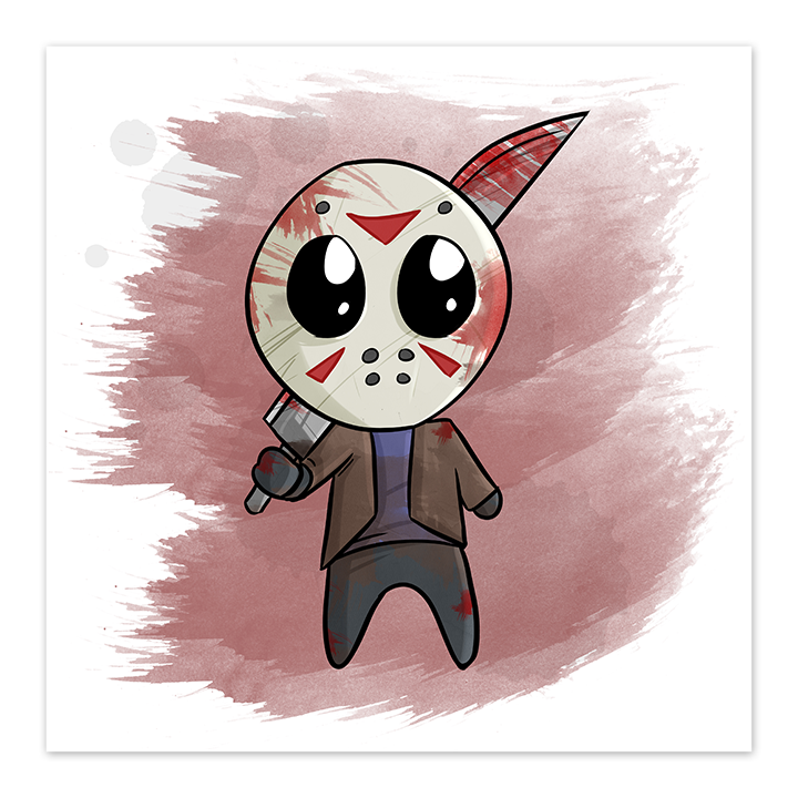Chibi Jason - Horror Film Fan Art - 8x8 Print