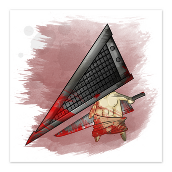Chibi Pyramid - Horror Film Fan Art - 8x8 Print