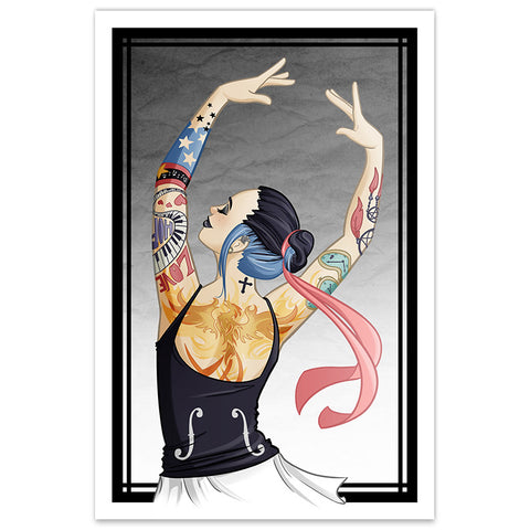 Tattooed Gothic Ballerina - 12x18 Print - [product_vender] - Corvink