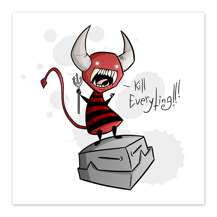 Kill Everything - Little Demon - 8x8 Print - by Denis Caron - [product_vender] - Corvink