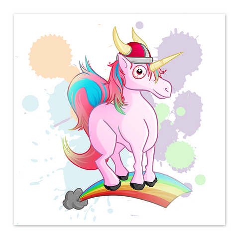 Rainbow Viking Unicorn - 8x8 Print - by Denis Caron - [product_vender] - Corvink