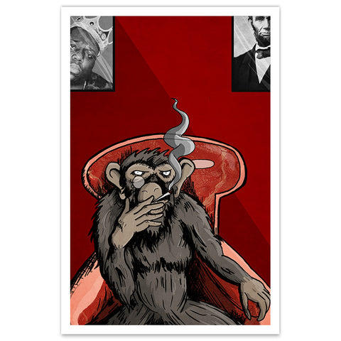 Smoking Monkey - 12x18 Print (OOP)