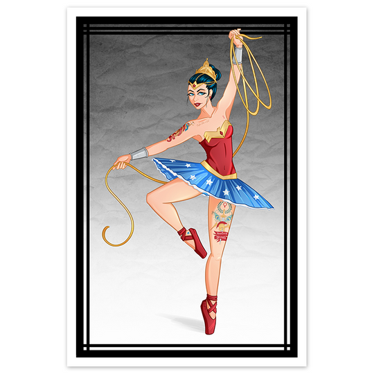 Tattooed Wonder Woman Inspired Ballerina - 8x12 Print - [product_vender] - Corvink