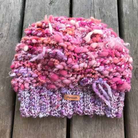 Hand knitted beanie with art yarn by mynoush