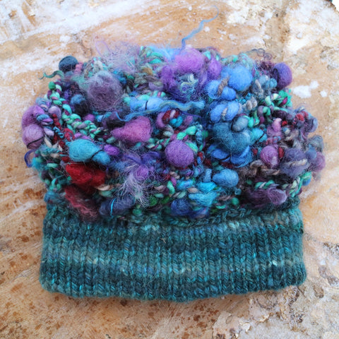 knitted beanie with art yarn by mynoush