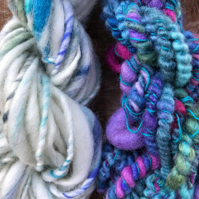 Blue and white hand spun yarn kit 100 grams - Mynoush