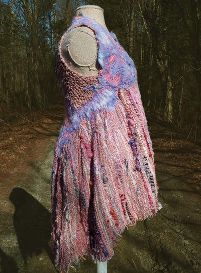 Pink hand woven dress with felt and quilting size medium - Mynoush