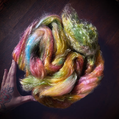 Merino / tencel hand dyed fibre for spinning