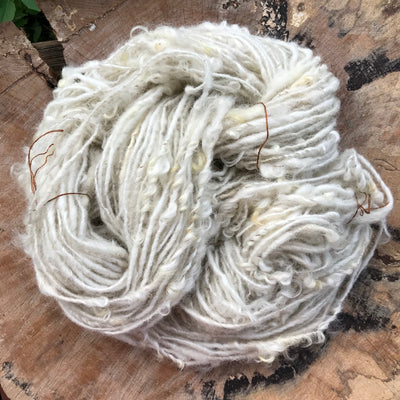 Natural white textured wool yarn 100 grams skein - Mynoush