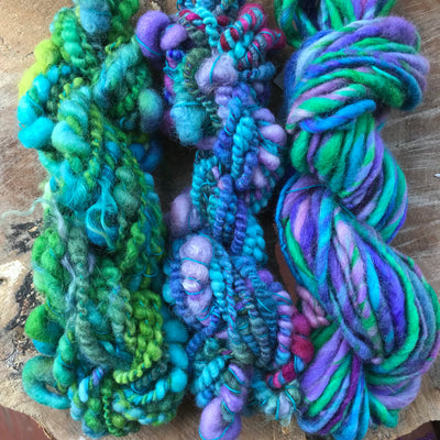 Blue hand spun yarn scarf kit - yarn trio 250 grams - Mynoush