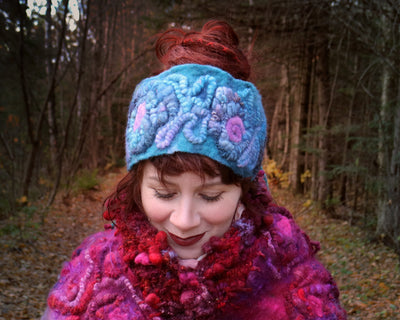 Blue textured felted headband One size - Mynoush