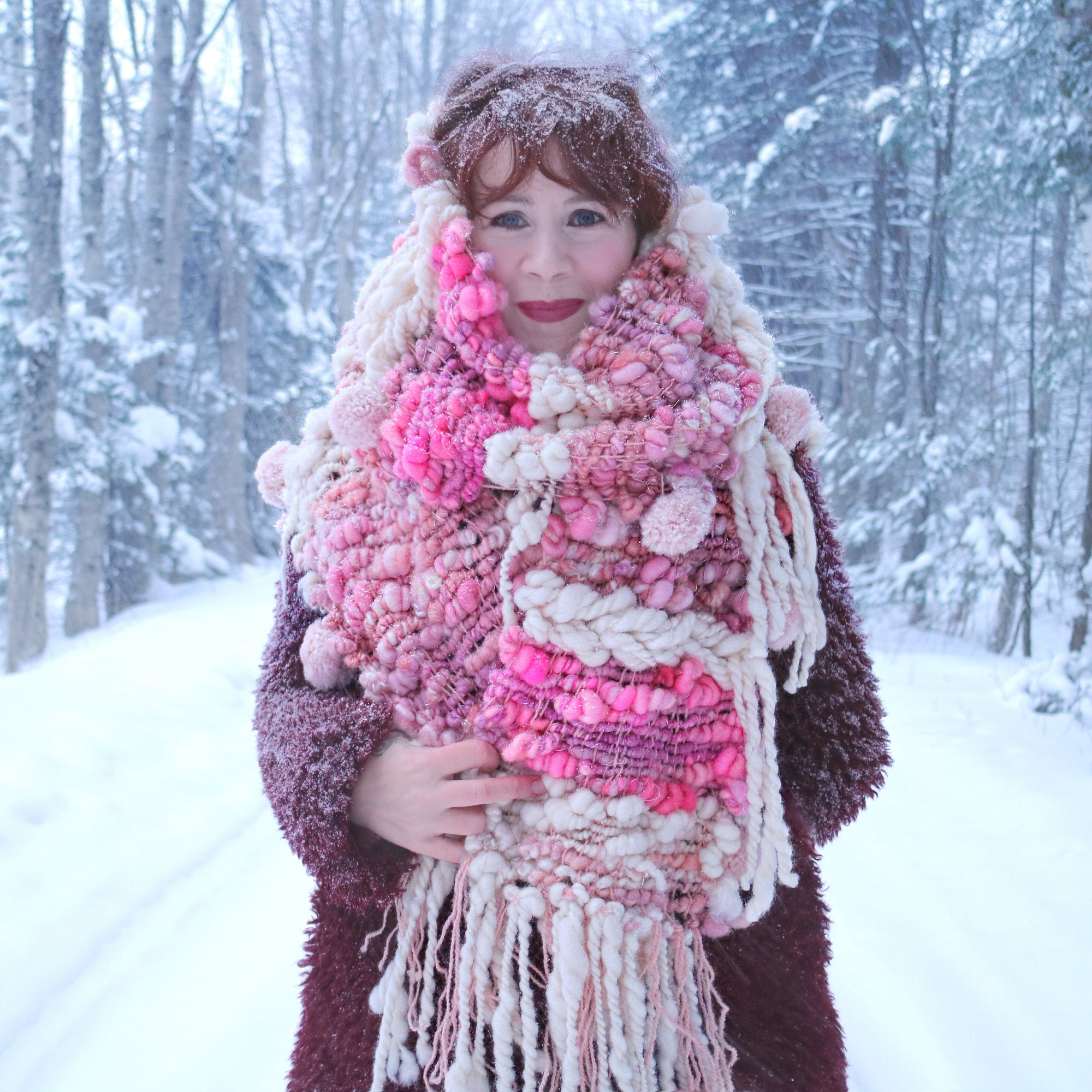 Giant Pink scarf 100% Wool - Foulard Géant 100% laine rose