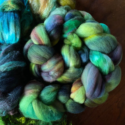 Woodland spinning kit Hand dyed roving