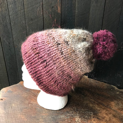 Grey and burgundy beanie 95% wool 5% alpaca One size - Mynoush