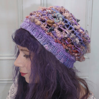 "Purple knitted hat | Tuque mauve tricotée | 18""-22"" - Mynoush"