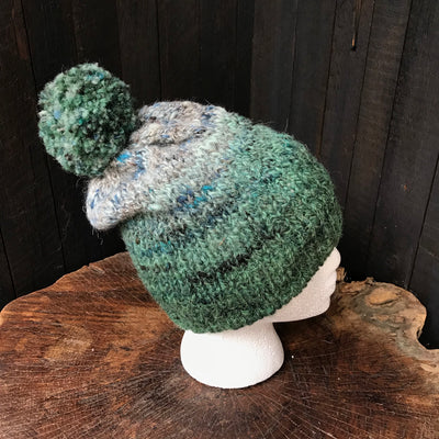 Green and grey unisex beanie 100% wool One size - Mynoush