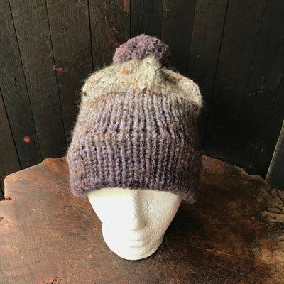 Beige and grey beanie 95% wool 5% alpaca One size - Mynoush