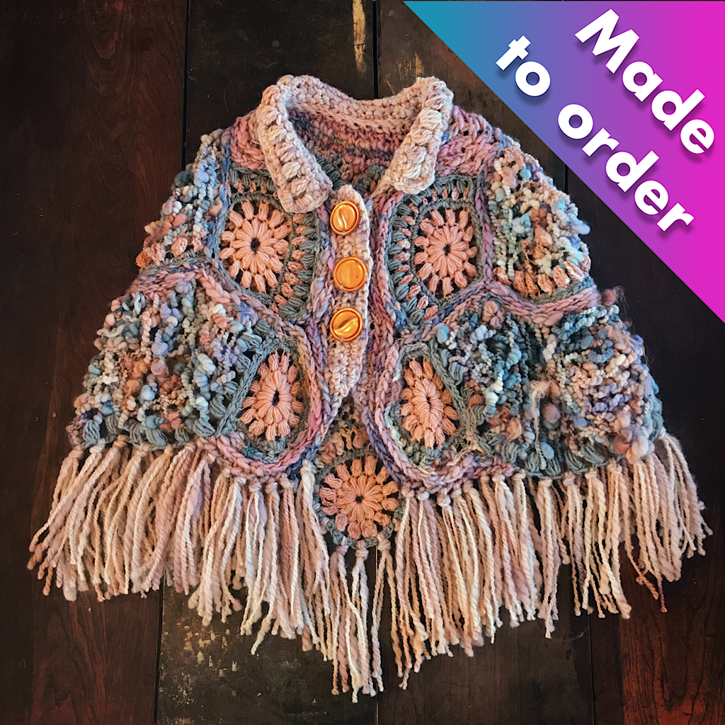 Purple crochet poncho Made to order