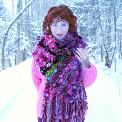 Purple scarf 100% Wool - Foulard 100% laine mauve - Mynoush