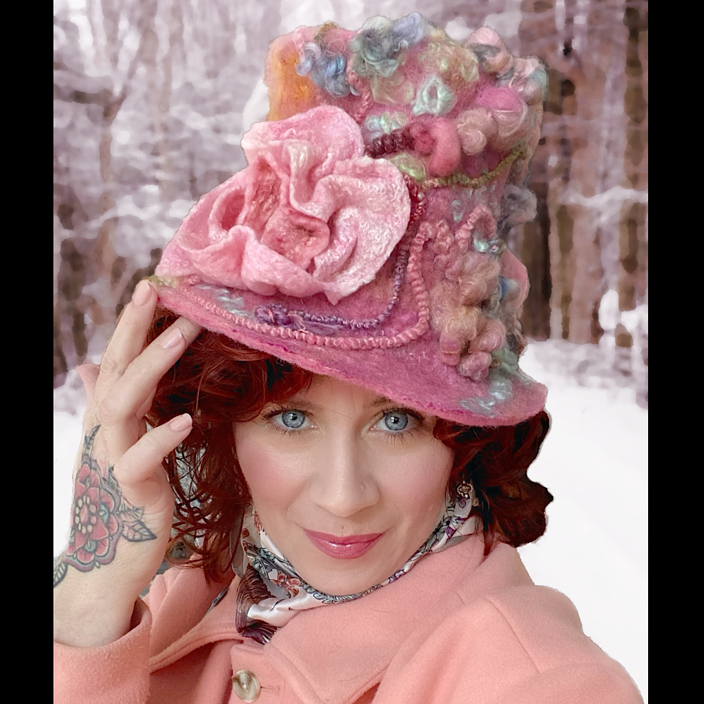 Vintage rose Felted top hat