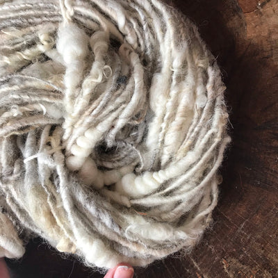 Natural white textured wool yarn 60 grams - Mynoush