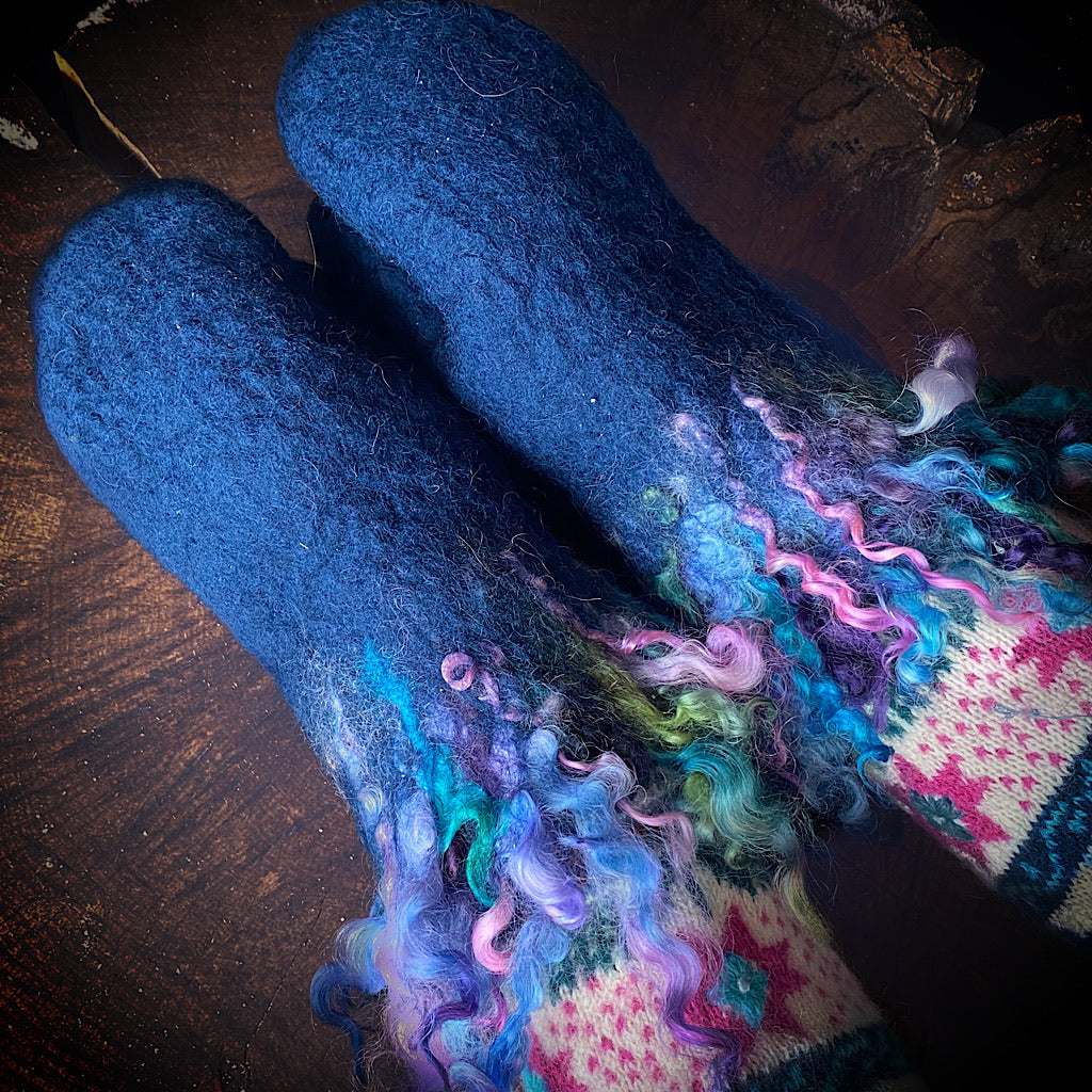 Blue felted mittens