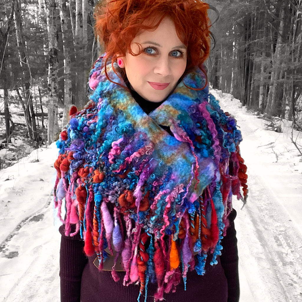 Fireworks Knitted and felted cowl